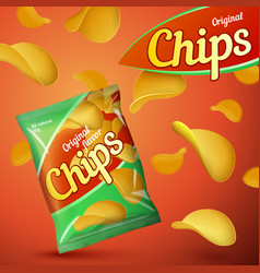bright template for chips package design vector image