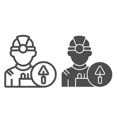 builder line and glyph icon engineer vector image