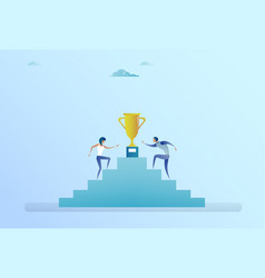 Business people climbing stairs up to golden cup vector