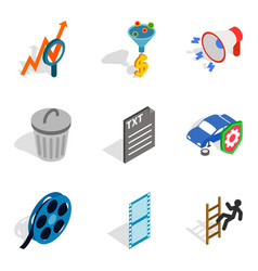 Businesslike approach icons set isometric style vector