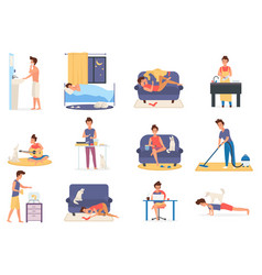 Busy man everyday lifestyle set morning afternoon vector