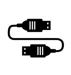 cable usb single silhouette icon for design vector image