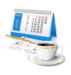 Calendar and business sketch vector image