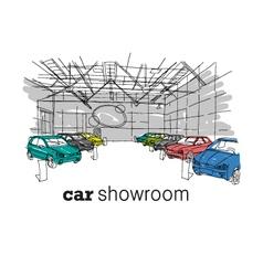 Car showroom interior design sketch vector