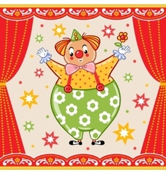 Card poster or invitation with a circus clown vector
