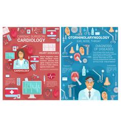 Cardiology otolaryngology medicine clinic posters vector