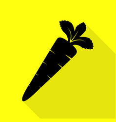 carrot sign black icon with flat vector image