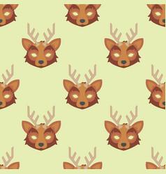 cartoon animal deer party masks holiday vector image