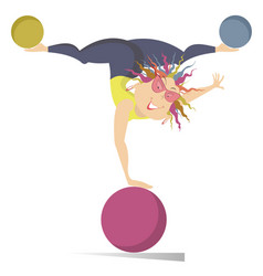 Cartoon woman woman do exercises with the balls vector