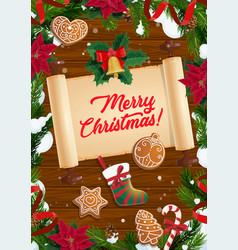 christmas wreath xmas tree and old scroll vector image