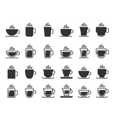 coffee cup silhouette icons hot drinks cups mug vector image