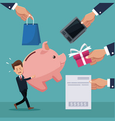 Color background of businessman carrying a piggy vector