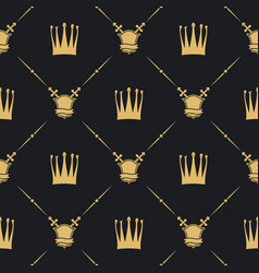 Crown with sword and shield seamless pattern vector