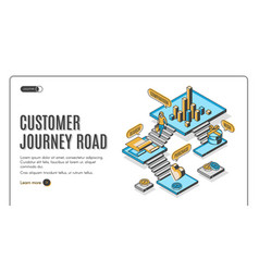 customer journey road isometric landing page vector image