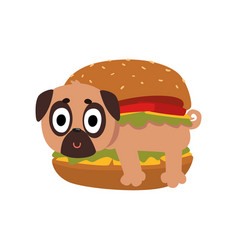 Cute pug dog in hamburger funny dog character vector