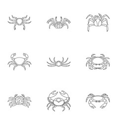 Different crab icons set outline style vector
