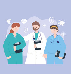 doctors and nurses team professional physicians vector image