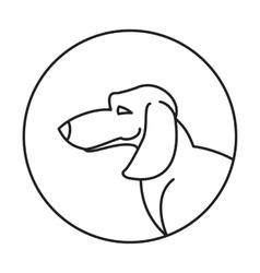 Dog head dachshund in a linear style vector