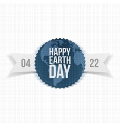 Earth Day festive Label with Ribbon vector image
