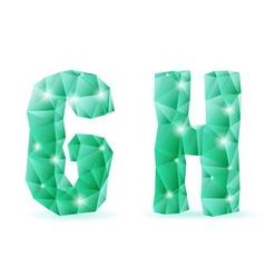 Emerald green polygonal font vector