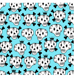 endless pattern with cute dead faces vector image