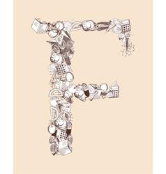 F School alphabet letter vector