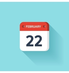 February 22 Isometric Calendar Icon With Shadow vector