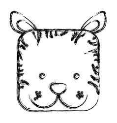 Figure square tiger face animal vector