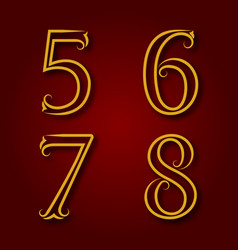 Five six seven eight vintage numbers vector