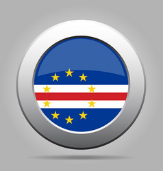 flag of cape verde shiny metal gray round button vector image