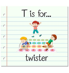 Flashcard letter T is for twister vector