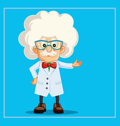 funny scientist professor cartoon character vector image