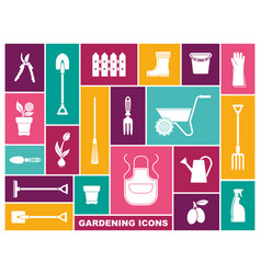 gardening icons in flat style vector image