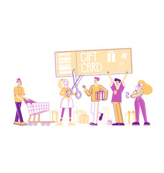 Gift card and sale concept happy people shopping vector