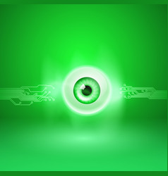 green background with eye and circuit vector image