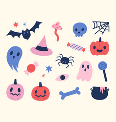 halloween objects set cute hand drawn elements vector image