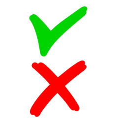 Hand drawn green checkmark and red cross vector