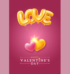 happy valentines day greeting card with golden vector image