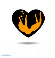 heart black icon love symbol the silhouette vector image