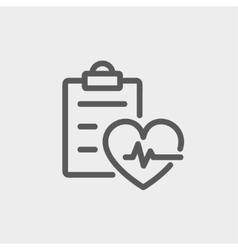 Heartbeat record thin line icon vector