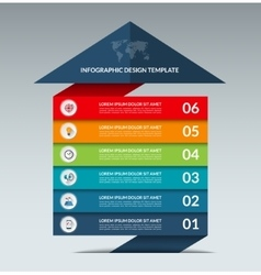 Infographic arrow design template with 6 options vector