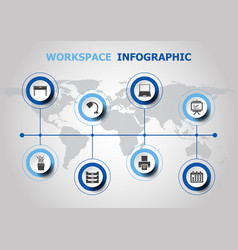Infographic design with workspace icons vector
