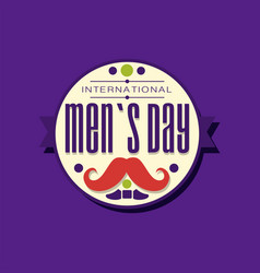 International men s day typography label design vector