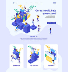Isometric landing page for big business vector