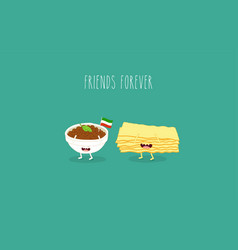 italian food set lasagna cheese and wine vector image