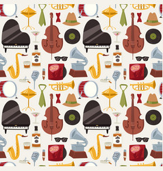 jazz musical instruments jazzband music seamless vector image
