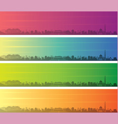 Kabul multiple color gradient skyline banner vector