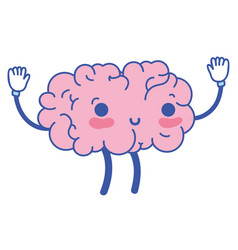 Kawaii cute happy brain with arms and legs vector