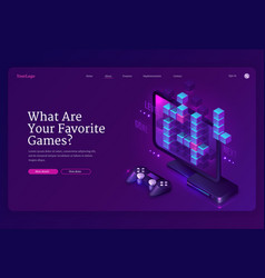 landing page video games vector image