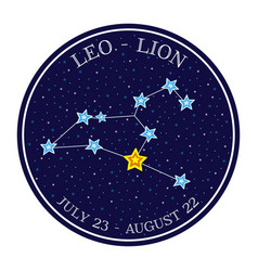 Leo zodiac constellation in space round icon vector